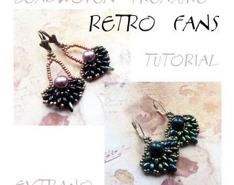 Superduo earrings tutorial, fan earrings pattern, superduo pattern, jewelry, round earrings, beaded fans - RETRO FANS - immediate download