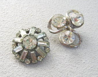 Vintage Antique Large Rhinestone Button Lot of Two