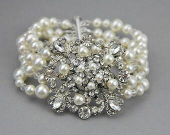 Vintage Inspired Wedding Bracelet ,  Rhinestone Bridal Bracelet ,Wedding Pearl Cuff Bracelet, Statement Pearl Bracelet , Bridal Jewelry