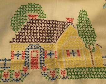 "Vintage Cross Stitch Table Linen Almost Mint   ""Cottages"""