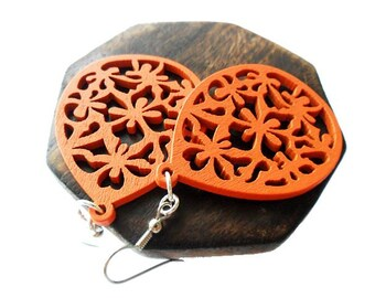 Orange Wooden Earrings