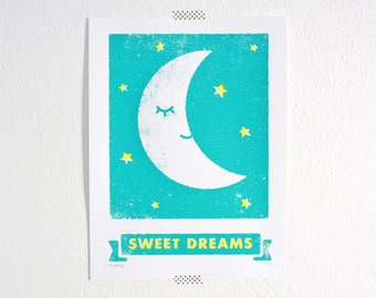 Sweet Dreams Print, Moon, Goodnight, Kids Room, Nursery Art