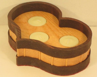 Heart Shaped 3 Tea Light Candle Holder Handmade