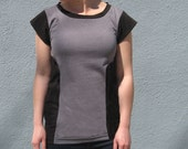20 PERCENT OFF Gray and Black Cotton Jersey Colorblock Tee with Scoopneck/ Handmade shirt made from Finchdesignsf
