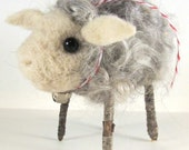Reserved for Lorna Little Wooliam Needle Felted Grey Sheep
