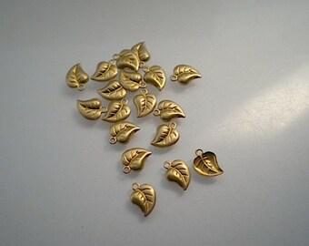18 teeny tiny brass leaf charms