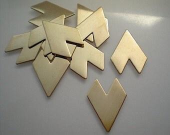 12 flat brass chevron/arrowhead stamping blanks