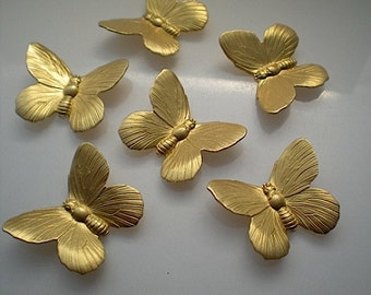 6 large brass butterfly charms No. 2