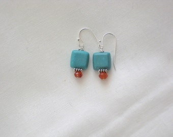 CLEARANCE: Square Magnesite and Faceted Carnelian Earrings on Sterling Silver