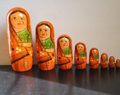 Wooden eco friendly Russian Doll in Sari.....