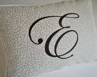 EMBROIDERED MONOGRAM PILLOW - Custom Made with Any Letter on Animal Print Linen