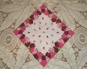 Vintage Printed Red Pink Roses Handkerchief Hanky Scallop Edge Hankie Diamond Shape Colorful Pretty Decorative