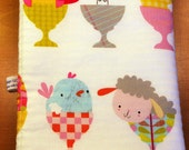 Easter Cute Critters Baby Burp Cloth - Bunnies, Lambs and Chicks Sitting in Eggcups - White and Multi Color - Cotton and Chenille