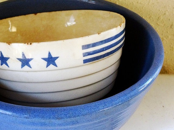 Vintage Pottery Bowl Ribbed Creamy White With Blue Stars And