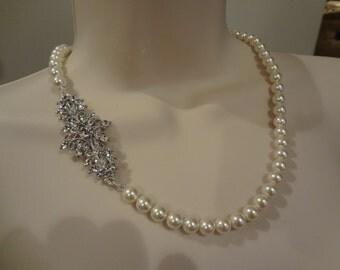 Bridal Pearl necklace, Vintage Style, rhinestone and Pearl necklace, Bridal Necklace, Lucinda