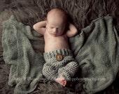 Grey Baby Boy Pants, 0 to 3 Month Gray Photo Prop Pants