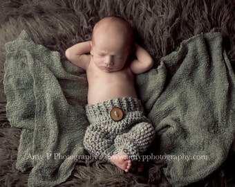 Grey Newborn Baby Pants, 0 to 3 Month Gray Photo Prop Baby Pants
