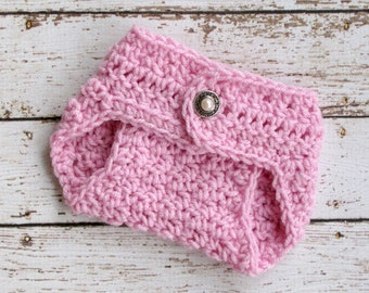 Pink Newborn Baby Diaper Cover Photo Prop