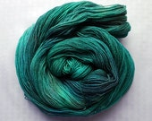 Muse - Hand Dyed Lace Yarn - Superwash Merino & Silk - Helmut Teal: Greens, Teals, Blues