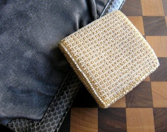 Beaded wallet - Gatsby chic vintage Belgian beaded wallet coin purse - 1950s Belgium hand craft - Mad Men 60s Deco style - Valentines gift