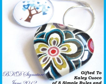 Gifted to Kaley Cuoco by BKD Signature - Blue Winter Love in Bloom Collection Pendant & Rainbow Flower in Black Heart Shaped OOAK Pendant