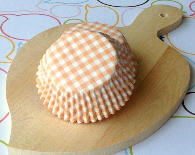 Pastel Orange Gingham Standard Cupcake Liners