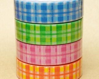 Aimez Washi Masking Tape - Tartan Check in Blue, Green, Pink or Yellow