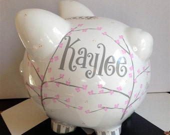 Personalized Piggy Bank Cherry Blossom Design Size Large Hand Painted