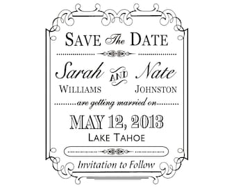 Border Save the Date Stamp