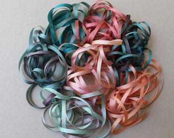 Coral Reef Mix - 14 metres of 3.5mm silk ribbon