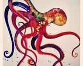 Dancing Octopus Original Watercolor Painting