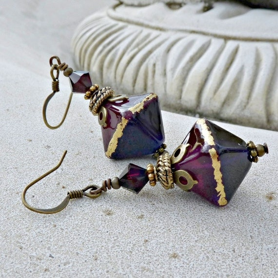 Lampwork Drop Earrings - Dark Purple, Ruby, Fuchsia, Violet, Handmade Glass, Antique Brass