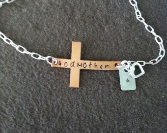 Sideways cross bracelet personalized godmother charm copper  communion baptism confirmation gift