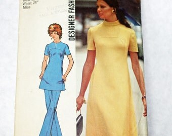 Vintage, 1970s, Sewing Pattern,  Simplicity 9761, Misses, Dress or Tunic and Pants, Size 10