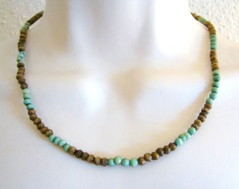 Vintage teal blue/ green and brwon wood beaded necklace