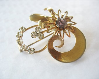 Gold Rhinestone Flower Brooch Light Amethyst 1950's