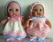 Knitting Pattern Berenguer Baby Dolls Feather and Fan Dress Set also fits Lil Cutesies digital download 2 versions