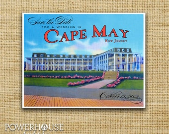 Cape May Congress Hall Vintage Post Card Save the Date