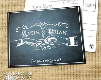 "Save the Date Postcard Vintage Engagement ""Put a Ring On It"""