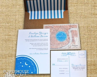 New Orleans Water Meter Map Wedding Invitations