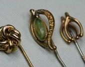 Stick Pin Lot - 3 pc Vintage Gold Tone Stick Pins