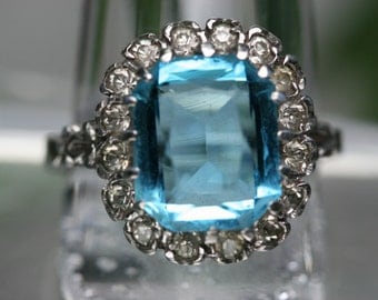Vintage Sterling and Blue and Clear Glass Stone Ring