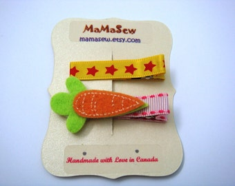 Yummy Carrots and Lovely Stars - Hair Clip for Baby and Toddler (Alligator Clip)with Silicone Non-Slip Grip