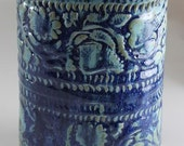 Ceramic Vase Patterned in Electric and Mossy Blue - READY TO SHIP