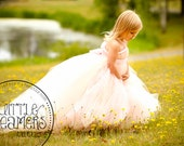 Blush Flower Girl Dress with Detachable Train