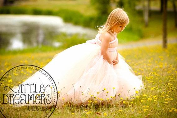 Blush Flower Girl Dress with Detachable Train