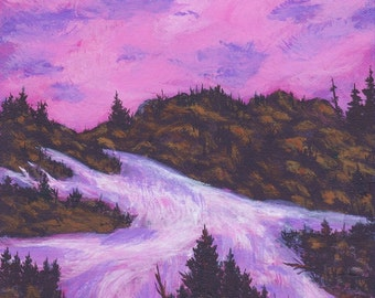 Rushing Spring Waters from a Mountain Stream Pink Sunset Sky Colors