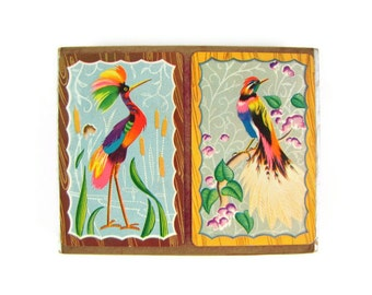 Rainbow Bright - Vintage 1940s Playing Cards, Tropical Birds with Brightly Colored Plumage, Double Deck Complete with Jokers