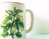 Vintage Herb Garden Coffee Mug/Retro Coffee Cup/Woodland Mug