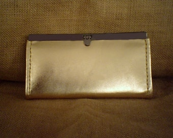 Handmade Leather Evening Clutch Purse in Gold